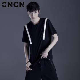 cncnCNCN男装 青年个性撞色短袖T恤 男薄款透气弹力体恤CNDT20981