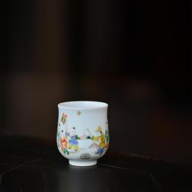 长物居 长窑制器 手绘五彩婴戏图手握杯 景德镇手工陶瓷茶具茶杯