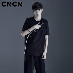 CNCN男装 青年潮牌个性撞色口袋T恤 男短袖弹力嘻哈体恤CNDT20975