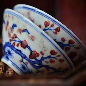 长物居 手绘青花釉里红岁寒三友斗笠杯品茗杯 景德镇手工陶瓷茶杯