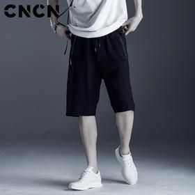 cncnCNCN男装 夏季黑色修身运动短裤 男青年潮牌休闲裤CNDK29171