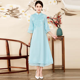 (捡漏款)OG6615中式绣花雪纺改良连衣裙TZF