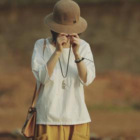 五分袖棉麻T恤镂空花边小衫