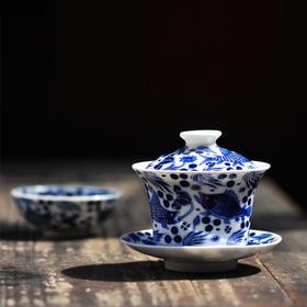 长物居 包邮 景德镇手绘青花陶瓷盖碗茶杯茶具茶碗三才碗大号