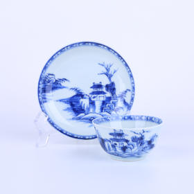 【菲集】清代乾隆1750年南京船货 青花瓷茶杯茶碟茶具一套 海捞瓷轻古董 跨境直邮