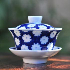 长物居 手绘青花陶瓷盖碗冰梅纹 景德镇手工瓷器茶碗茶具