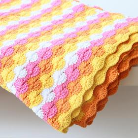 小辛娜娜菊花毯子盖被编织材料包 5股牛奶棉钩织毛毯空调被毯材料