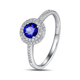 DENG HUA 天然蓝宝石钻石戒指