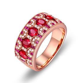 DENG HUA 天然红宝石钻石戒指