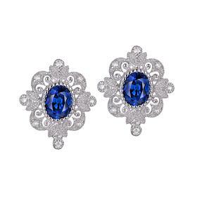 DENG HUA 天然蓝宝石钻石耳环