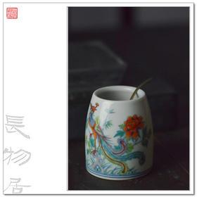 长物居 手绘斗彩凤鸣在竹水盂 仿古陶瓷 文房用品