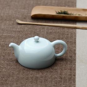 长物居 青釉瓷器茶壶 景德镇手工陶瓷茶具 单色釉素胎瓷器茶壶