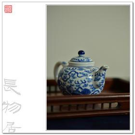 长物居 景德镇手绘青花狮子绣球纹瓷器茶壶茶具 江西瓷业公司款