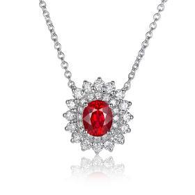 DENG HUA 天然红宝石钻石项链