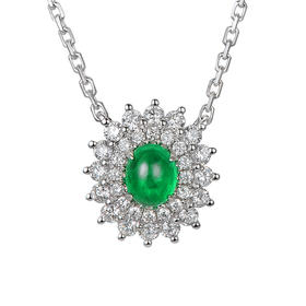 DENG HUA 天然祖母绿钻石项链