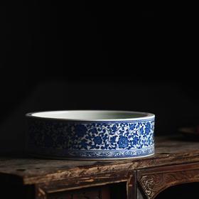 长窑制器第九款 手绘青花缠枝莲纹水仙盆 茶洗 果盆 笔洗