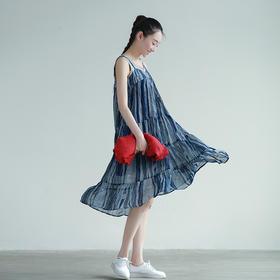 雪纺吊带连衣裙A字中长款背带裙外穿