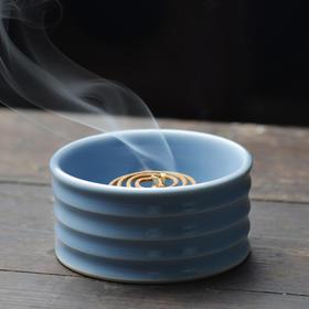 长物居 青釉瓷器香插香炉盘香炉 景德镇手工陶瓷香薰炉