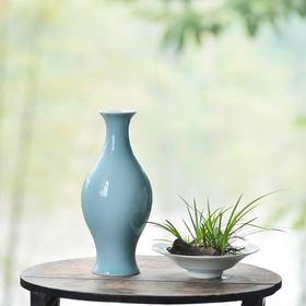 长物居 天青釉橄榄瓶 景德镇手工仿古陶瓷花瓶陈设摆件