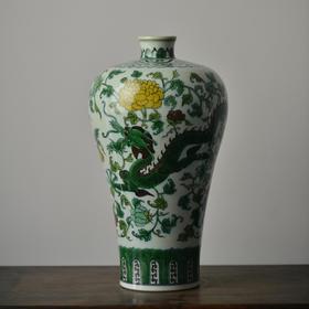 长物居 手绘素三彩龙纹纹梅瓶 景德镇手工仿古陶瓷花瓶