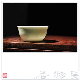 影青釉青白瓷茶杯品茗杯暗刻荷塘卧足杯 景德镇手工陶瓷茶具