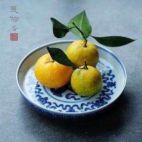 长物居 长窑制器 手绘青花结带宝杵纹盘 景德镇手工陶瓷盘