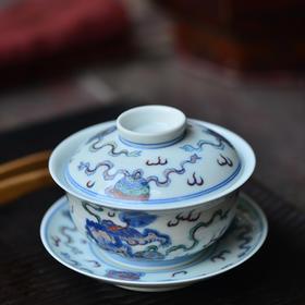 长物居 仿雍正斗彩狮子绣球盖碗 景德镇手绘仿古陶瓷三才盖碗
