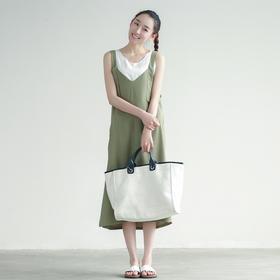 清新雪纺背带裙长裙女V领系带学生装