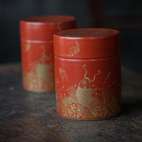 长物居 珊瑚红描金鲤鱼茶叶罐 景德镇仿古陶瓷茶仓