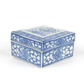 【菲集】艺术品 18世纪清代 陶瓷青花置物盒 收藏品 跨境直邮