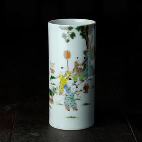 长物居 长窑制器 手绘五彩婴戏图笔筒 景德镇手工陶瓷文房用品