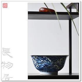 长窑制器 仿宣德 手绘青花海浪纹宫碗 景德镇手工仿古陶瓷碗