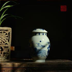 长物居 青花张骞乘槎茶叶罐 景德镇手绘仿古陶瓷茶仓莲子罐