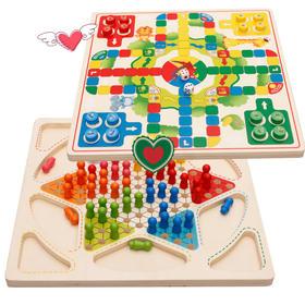 桌面游戏跳棋&飞行棋二合一桌面游戏跳棋&飞行棋 二合一 早教益智儿童木制玩具