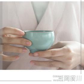 陶溪川景德镇陶瓷汝窑天青釉开片单杯家用功夫茶具茶杯主人品茗杯