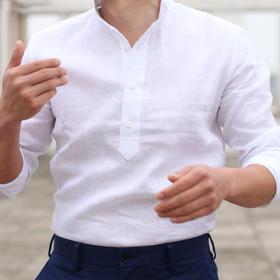 夏季新款白/蓝色/黑亚麻亨利领休闲衬衫立领长袖短袖休闲衬衫