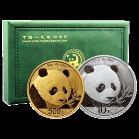 【金币套装】2018年熊猫30克金币+30克银币套装·中国人民银行发行