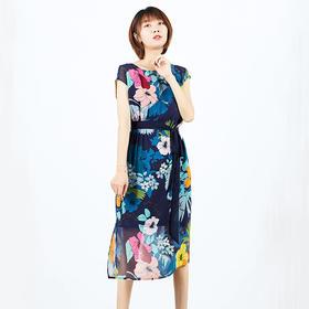 印花真丝双绉长裙