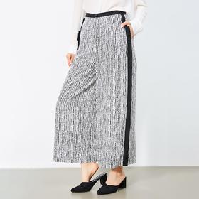 印花条纹侧条装饰裙裤