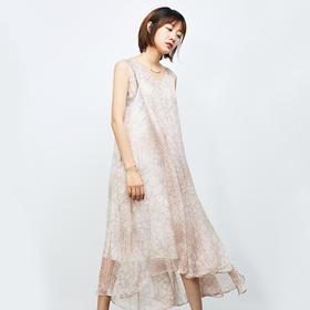 粉色大花无袖真丝连衣裙