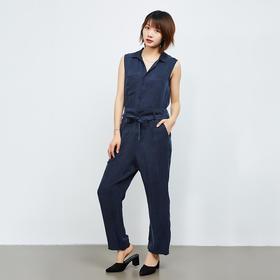 无袖腰间系带连体裤
