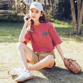 2018新款短袖T恤女夏韩版chic潮宽松百搭学生砖红色字母印花上衣