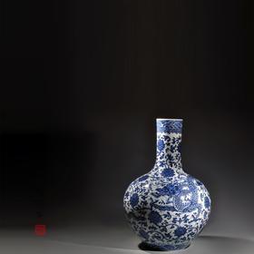 长物居 手绘青花天球瓶大号龙穿花纹 景德镇手工陶瓷花瓶摆件