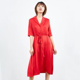 西装领半开门襟连衣裙