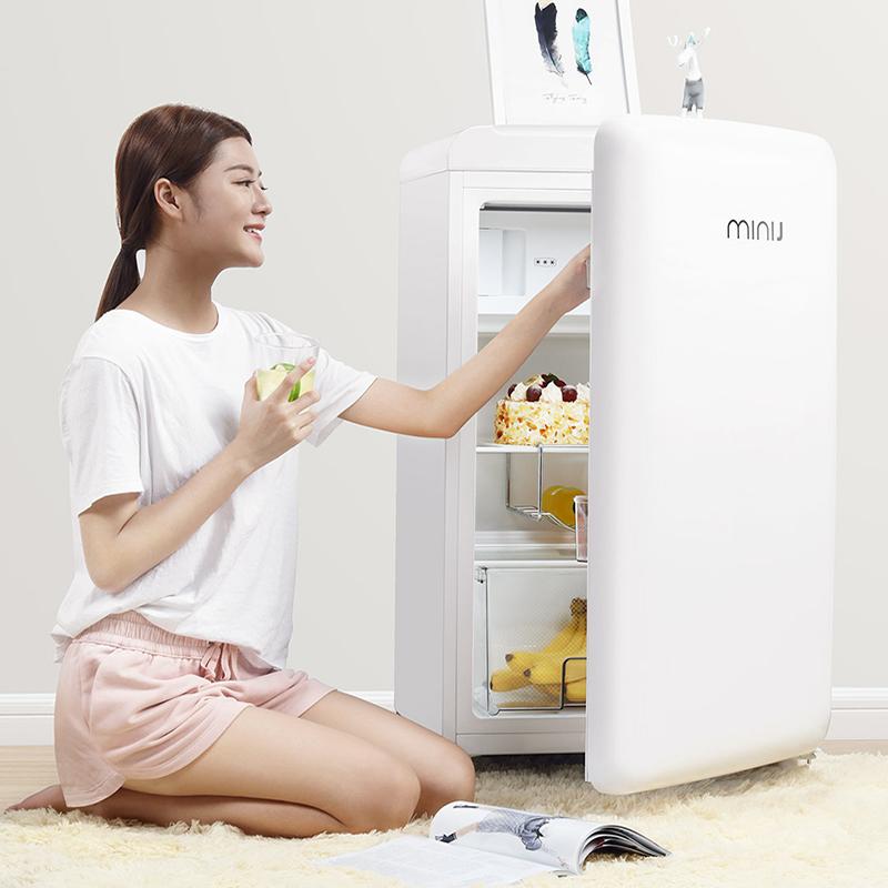 小吉MINIJ BC-121FA 单门彩色家用冷藏冷冻办公室小型节能复古冰箱