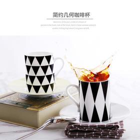 玉柏骨瓷马克杯子陶瓷杯带碟情侣水杯牛奶麦片早餐咖啡杯黑白格子
