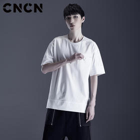 CNCN男装 夏季新品全棉男短袖T恤 薄款纯白色宽松体恤CNDT20967