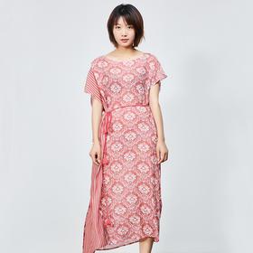 粉色印花真丝连衣裙+腰带