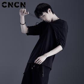 CNCN男装 青年潮牌个性T恤 黑色纯棉微弹夏季上衣男体恤CNDT20960