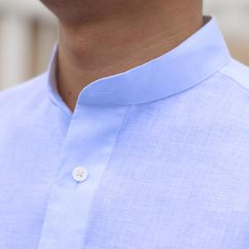 夏季新款白色/深蓝色/浅灰色/浅蓝色亚麻亨利领休闲衬衫立领休闲衬衫
